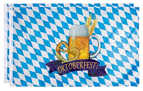 Juvale Oktoberfest-Flaggen - 2er Pack Bayrische Flaggen Deutsche Wimpelkette Banner Perfekt für Outdoor, Indoor, Haus und Garten Dekoration, Bier und Brezel Design, Blau & Weiß, 90 x 150 cm -