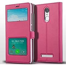 Prevoa ® 丨 Xiaomi Redmi Note 3 Funda - Flip PU S- View Protictive Funda Case para Xiaomi Redmi Note 3 MU V7 (Android 5.1 Lollipop) 5.5 Pulgadas Smartphone - Hotpink
