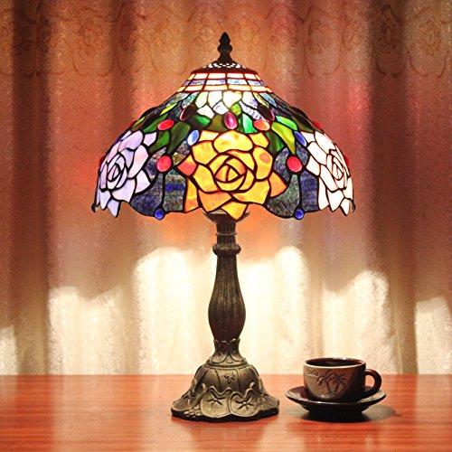 Home Déco Outlets 12-Zoll-Luxus wunderschöne orange Rose Pastoral Glasmalerei Stil Tabelle Lampe Schlafzimmer Lampe Nachttisch Lampe -