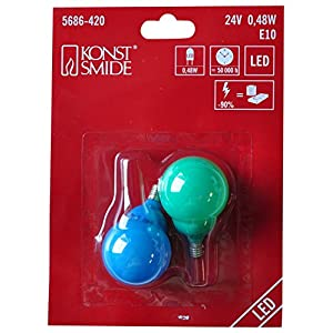 Konstsmide 5686 420 Replacement 12 V/24 V, 0.24 LED Beer Garden Lights Pack of 2 Colourful Bulbs E10 Screw Thread