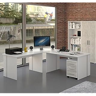 Möbel Pracht Schreibtisch, Winkelschreibtisch, Eckschreibtisch mit Rollcontainer - 4 teilig in weiß/grau