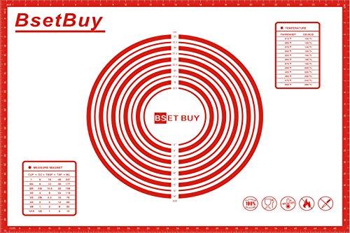 BSET BUY Backunterlage/Backmatte Silikon Groß 71x51cm Silikonmatte Backfolie Arbeitsmatte mit...