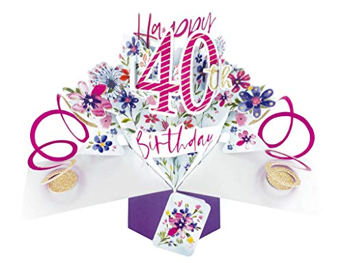 Second Nature Female 40th Birthday Pop Up Card with Flowers