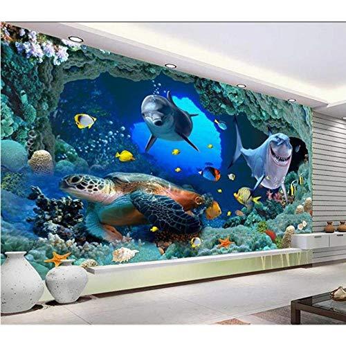 Wandbild Benutzerdefinierte 3D Fototapete Wohnzimmer Wandbild Delphin Coral Submarine Cave Foto Sofa Tv Hintergrund Vliestapete Für Die Wand-350cmx245cm