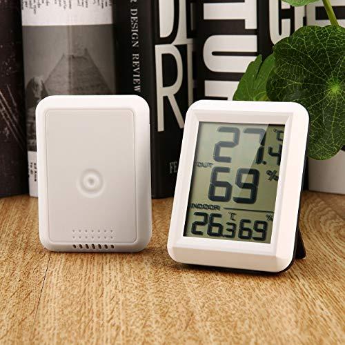 DEjasnyfall Jasnyfall Tragbares Mini-LCD-Display TS-FT0423 für den Innen- und Außenbereich Drahtloses Thermo-Hygrometer mit Thermo-Hygrometer-Sender (weiß und schwarz) -