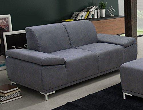 PIACENZA 2er Boxspringsofa 2-Sitzer Sofa Couch Microfaser Dunkelgrau
