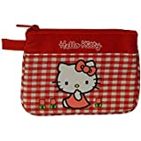 Hello Kitty Monedero plano Dinero Bolsa Check Rojo de Sanrio