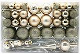 Geschenkestadl 101 teilig Weihnachtskugel Herz Kugel mit Schneeflocke Christbaumspitze mit 100 Metallhaken Anhänger Baumschmuck Weihnachten (Creme)
