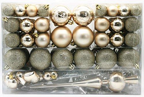 101 teilig Weihnachtskugel Herz Kugel mit Schneeflocke Christbaumspitze mit 100 Metallhaken Anhänger Baumschmuck Weihnachten (Creme) (Kugeln Herz)