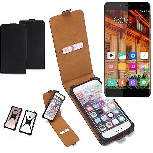 K-S-Trade Flipstyle Hülle für Elephone S3 Lite Handyhülle Schutzhülle Tasche Handytasche Case Schutz Hülle + integrierter Bumper Kameraschutz, schwarz (1x)