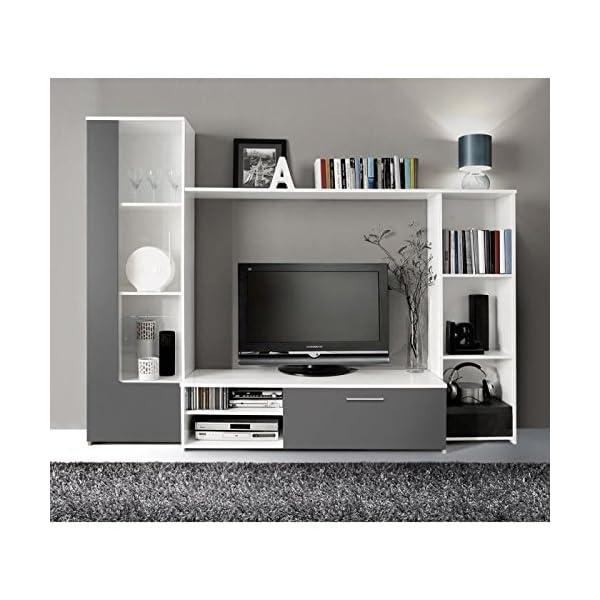 Finlandek Meuble Tv Mural Pilvi 220cm Blanc Et Gris Deco Royale