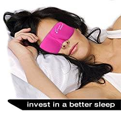 Dream Maker Premium PINK 3D Contoured Moldex Sleep Mask Includes Carry Pouch for Eye Mask Ear Plugs Lightweight & Comfortable for Sleeping Rest Travel Shift Work Meditation Men Women Insomnia
