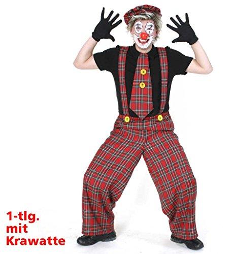 Clownhose 'Kalle' Latzhose und Riesenkrawatte in rot-grünem Karomuster Clown Narr Schelm (Large)