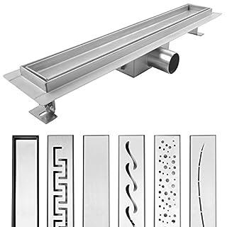 AQUADE 90 cm Shower Drain, Floor Drain, Gutter Drain, Shower Gutter, Stainless Steel Drain, Tileable, model: Lera