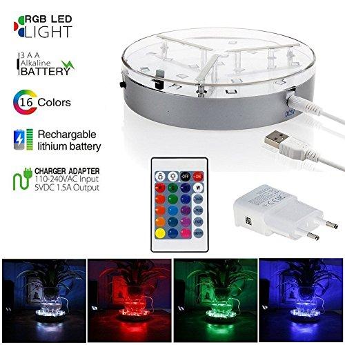 Shisha LED Untersetzer Base Light Coaster Wiederaufladbare RGB LED Licht mit IR-Fernbedienung Rechargeable Akku mit Fernbedienung für Shisha 19 LED/6 Zoll/15CM für Hochzeits-Center