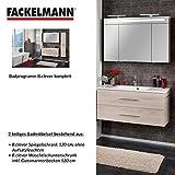 Fackelmann Badmöbel Set B.Clever 2-tlg. 120 cm esche mit Waschtisch Unterschrank inkl. Gussmarmorbecken & LED Spiegelschrank