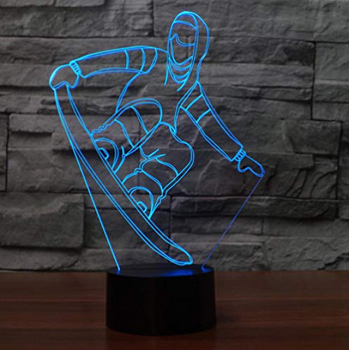 Joplc 3D Snowboard Tischlampe USB Visuelle LED Nachtlicht Schlaf Beleuchtung Skifahren Modellierung Leuchte Neujahr Geschenke Dekor - Snowboard Kunst