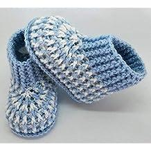 Patucos de ganchillo tipo calcetín, hechos a mano, para bebés de 0-3