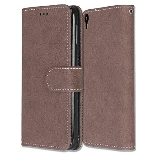 Alcatel One Touch Idol 3 (5.5) Hülle, Chreey Matt Leder Tasche Retro Handyhülle Magnet Flip Case mit Kartenfach Geldbörse Schutzhülle Etui [Braun]