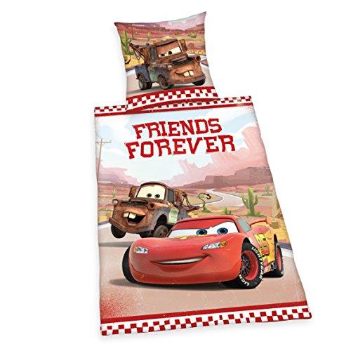 Herding 442961050 Juego de sábanas de Cars Friends Forever, Funda de Almohada: 80 x 80 cm y Funda de edredón: 135 x 200 cm, 100% algodón, diseño de