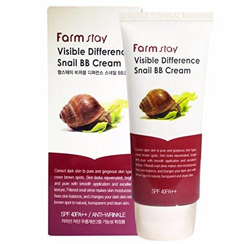 Farmstay - Visible Difference Snail BB Cream - Anti Falten BB Creme mit Schneckenschleim für ein makelloses Hautbild für Frauen - Streichfähiges Make Up für Ihren perfekten und natürlich Hautton - BB & CC Cremes - Tagespflege - Grundierung - Make-Up Basis - getönte Tagescreme für trockene, sensible und normale Haut / Mischhaut