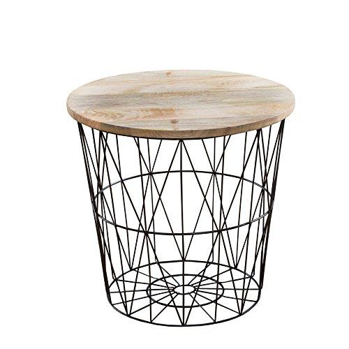 Moderner Couchtisch Beistelltisch STORAGE 42 cm aus Metall schwarz Holzdeckel aus Mangoholz Korb Aufbewahrung Tisch mit Mango Holz Ablage Aufbewahrungskorb (42 Couchtisch)