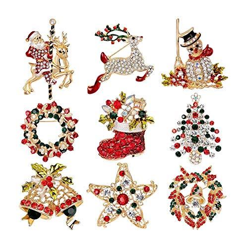 RETYLY 9Er Pack Mehrfarbig Weihnachten Brosche Nadel Set Weihnachten Dekoration Schmuck Geschenke
