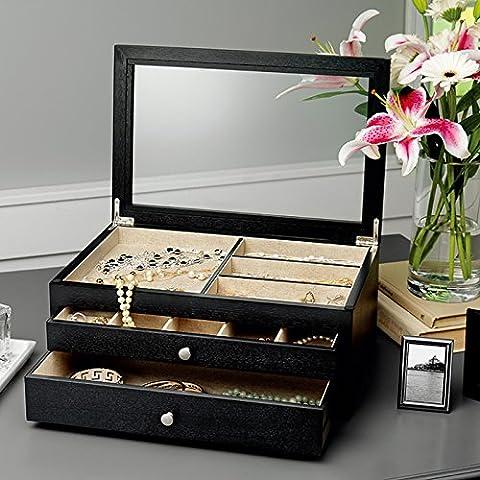 Bijoux en bois Boîte de rangement avec 2tiroirs & 24compartiments doublés en tissu (Noir)