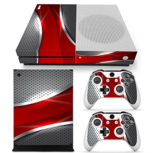 xbox-one-s-console-skin-decal-sticker-red-chrome-2-controller-skins-set-matt-finished