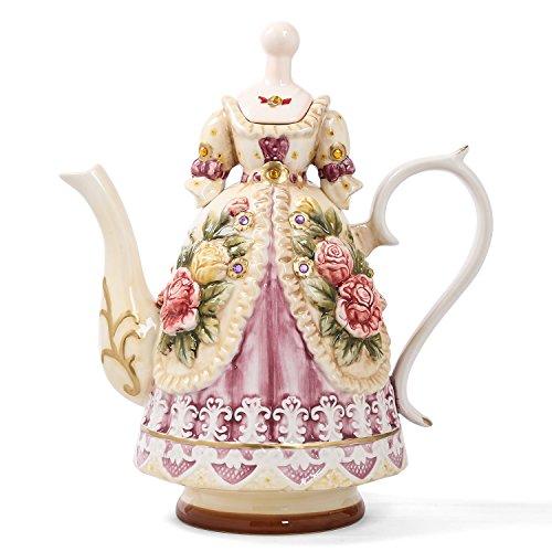 Kungfu - Juego de tazas de té de porcelana china estilo vintage, hecho a mano con tetera, 7 unidades Vitorian