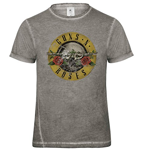 LaMAGLIERIA Herren T-Shirt Vintage Look Guns N' Roses Classic Logo Grunge Print Cod. Grpr0039