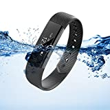 Fitness Tracker, XCSOURCE® Braccialetto Bluetooth Sport Activity Tracker, IP67 Impermeabile Bluetooth 4.0 , per Outdoor Corsa e Ciclismo, Bracciale Smartwatch, Contapassi, Calorie Counter, Sonno Monitoraggio,Smart tracker, Notifiche Chiamate, Fit Watch Smart Watch per iOS Android, Nero AC656