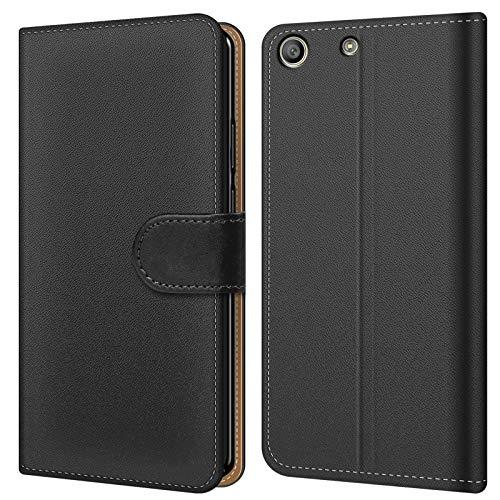 Conie BW38767 Basic Wallet Kompatibel mit Sony Xperia M5, Booklet PU Leder Hülle Tasche mit Kartenfächer & Aufstellfunktion für Xperia M5 Case Schwarz