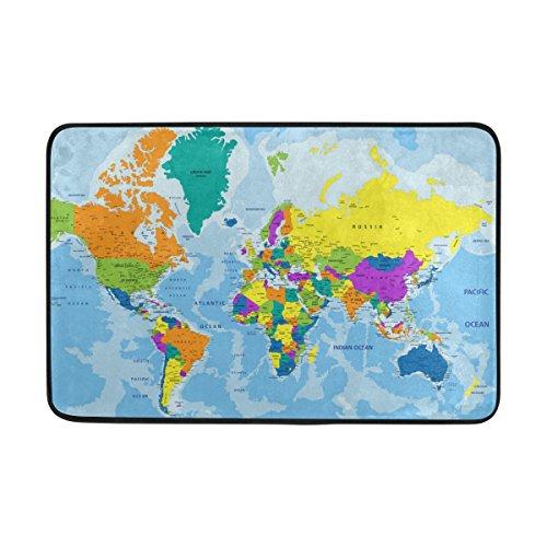 jstel sehr detaillierte Weltkarte-Fußmatte waschbar Garten Büro Fußmatte, Küche ESS-Living Badezimmer Pet Eintrag Teppiche mit Rutschfeste Unterseite 59,9x 39,9cm