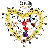 Cusfull Lot de 32 Mini Emoji Porte-clés en Peluche Mignon Émoticône Emoji pour Cadeau De La fête des...