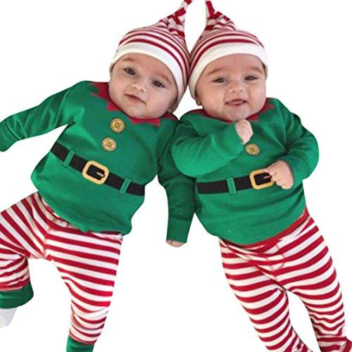 Babykleidung URSING 3 Stück Baby Jungen Mädchen Weihnachten Strampler Langarm Bodysuit + Hosen + Weihnachtsmütze Outfits Set Weihnachtsmann Kostüm für Weihnachtsgeschenk (Weihnachten Grün, 90cm)