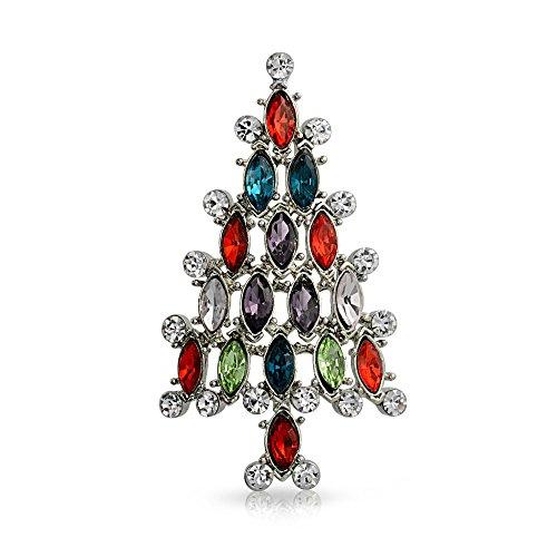 Bling Jewelry Urlaub Marquise Crystal Red Blue Grün Mode Große Aussage Weihnachtsbaum Brosche Pin Für Damen Versilbert