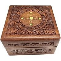 Scatola di legno gioielli, 4X4 centro ottone