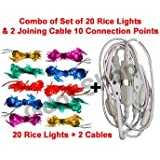 EASY4BUY Rice Lights Serial Bulb Decoration For Diwali Gurupurab Set Of 20 (32 FEET)+ 12 Ladi Jointer