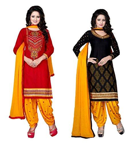 SKY GLOBAL Women's Poly cotton Printed Salwar Suits Dress Materials (Combo pack...