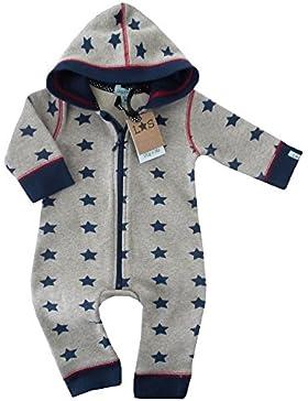 NEU | Overall Strampler Jumpsuit grau blau Sterne mit Kapuze 0-6 und 6-12 Monate
