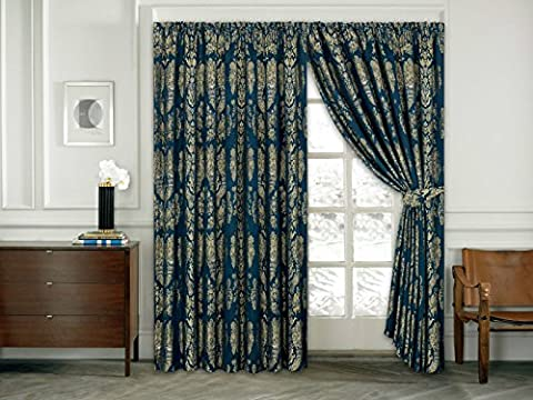 Luxury Jacquard Curtains Pair Fully Lined Ready Made Tap Top - Pencil Curtain With Free Tie Backs And P&P (90 X 72, Blue)
