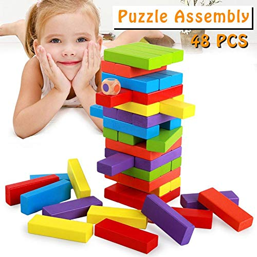 gaeruite hölzerner stolpernder Block-Turm, hölzerner stolpernder Turm 48PCS blockiert buntes Jenga, das Blöcke für Kinderlernspielzeug zieht
