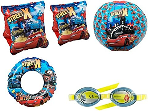 DISNEY PIXAR CARS BEACH BALL SWIM RING ARM BANDS & GOGGLES SET CHILDRENS SWIMMING KIT