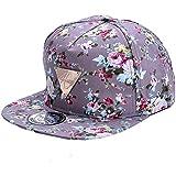 Zeagoo Blumen Snapback Hut, Hip-Hop Flat Schildmütze Baseball-Kappe größenverstellbar