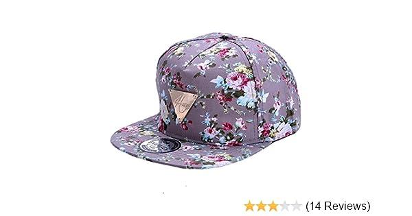 3c72680a035 Zeagoo Floral Flower Snapback Hip-Hop Hat Flat Peaked Adjustable Baseball  Cap  Amazon.co.uk  Clothing
