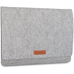 """Housse en feutre de laine KANVASA pour ordinateur portable 14 pouces et MacBook Pro 15"""" - Sac premium gris pour Notebook Ultrabook avec cuir marron - Housse pour Apple Samsung Acer Lenovo HP Dell et +"""