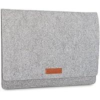 KANVASA Funda Ordenador 15 - 15.6 Pulgadas Fieltro Gris - Bolso Notebook Portatil Premium logo marca en piel marrón - Estuche para Samsung ASUS Acer Dell y más - Protección suave para su dispositivo