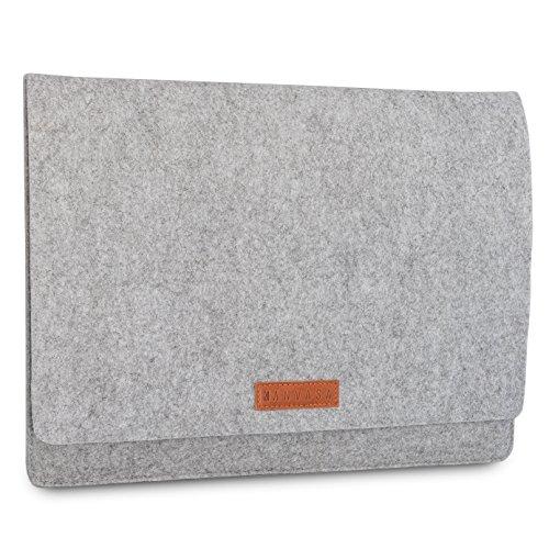 KANVASA Filz Sleeve 14 Zoll Laptop & 15 Zoll MacBook Pro - Premium Laptoptasche Hülle Laptophülle Filztasche grau mit braunem Leder - Tasche für Notebook Ultrabook von Samsung ASUS Acer Lenovo HP uvm.