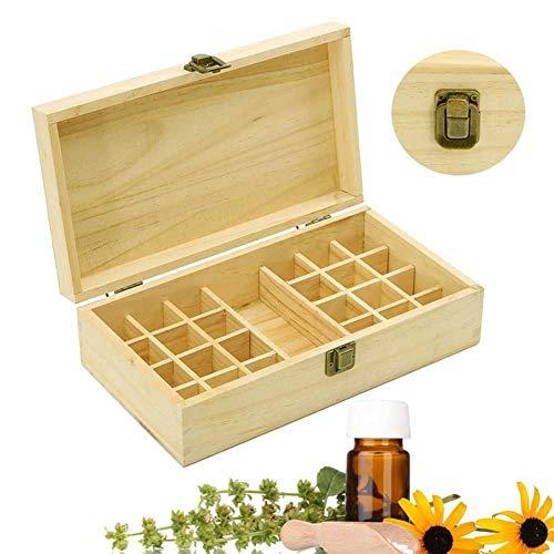 Cikuso 25 L?Cher ?therische ?le Holz Kiste 5Ml / 10Ml / 15Ml Flaschen Spa Yoga Club Aromatherapie Aufbewahrungs Koffer Organisations Container